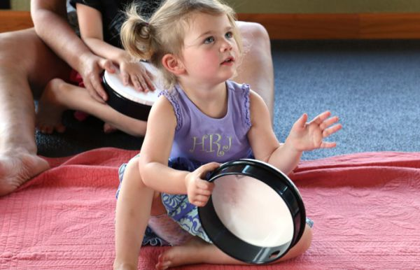 Child in a kindermusik class