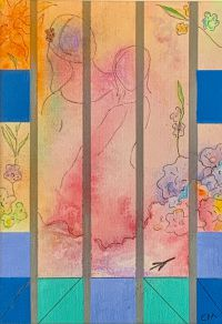 Poem: Fifty Years Ago by Pat Adams Artist:Carol MacAllister Title: Flight of Fancy Size: 5x7inches Medium: Mixed Media Price: $150